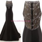 Long Black Beaded Mermaid Prom Dresses Party Evening Gowns 408