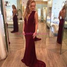 Sexy Long Burgundy Chiffon Prom Dresses Party Evening Gowns 412