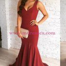 Mermaid V-Neck Burgundy Long Prom Dresses Party Evening Gowns 424