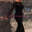 Long Black Off-the-Shoulder Lace Mermaid Prom Dresses Party Evening Gowns 426