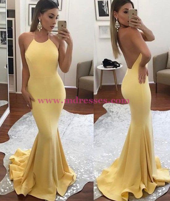 Long Yellow Halter Mermaid Prom Dresses Party Evening Gowns 431