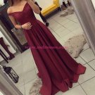 A-Line Off-the-Shoulder Long Burgundy Prom Dresses Party Evening Gowns 435