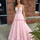 A-Line Long Pink Lace V-Neck Prom Dresses Party Evening Gowns 437