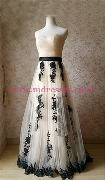 A-Line Sweetheart Lace Tulle Long Prom Dresses Party Evening Gowns 441