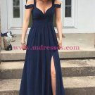 Long Navy Chiffon Side Slit Prom Dresses Party Evening Gowns 442