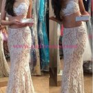 Two Pieces Lace Illusion Neckline Prom Dresses Party Evening Gowns 455