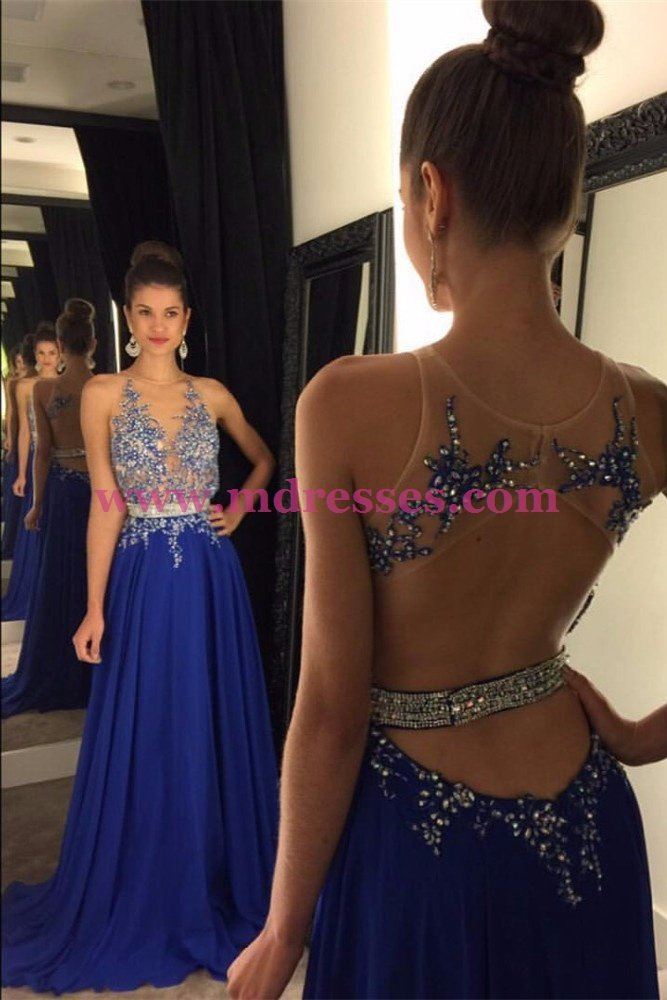 Long Blue Beaded Lace Appliques Illusion Bodice Prom Dresses Party Evening Gowns 459