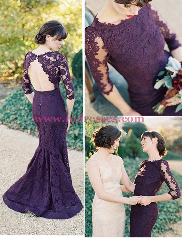 3/4 Length Sleeves Mermaid Long Purple Lace Prom Dresses Party Evening Gowns 464