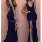 Sexy Mermaid Long Navy Lace V-Neck Prom Dresses Party Evening Gowns 465