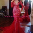 Long Sleeves Mermaid V-Neck Lace Red Prom Dresses Party Evening Gowns 468