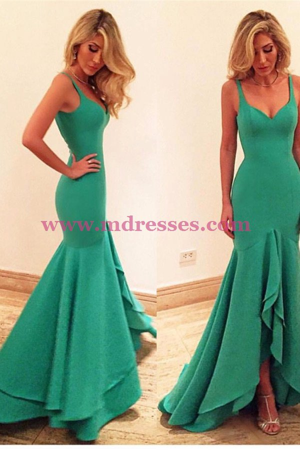 Long Green Mermaid Prom Dresses Party Evening Gowns 472