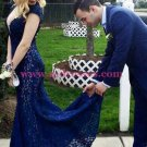 Long Blue Mermaid Lace Open Back Prom Dresses Party Evening Gowns 473