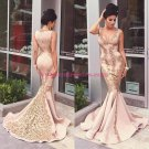 Mermaid Gold Lace Appliques Prom Dresses Party Evening Gowns 475