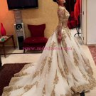 Gold Lace Appliques Long Sleeves Prom Dresses Party Evening Gowns 478
