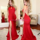 Sexy Long Red Backless Prom Dresses Party Evening Gowns 479