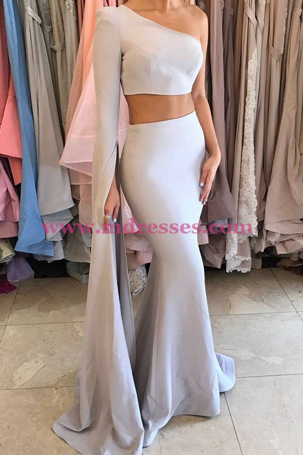 Two Pieces One Sleeve Mermaid Long Prom Dresses Party Evening Gowns 480