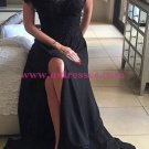 Long Black Illusion Neckline Lace Chiffon Prom Dresses Party Evening Gowns 481