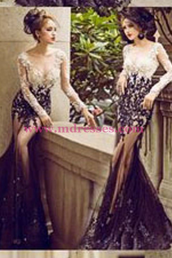Sexy Mermaid Long Sleeves Black White Lace Prom Dresses Party Evening Gowns 484
