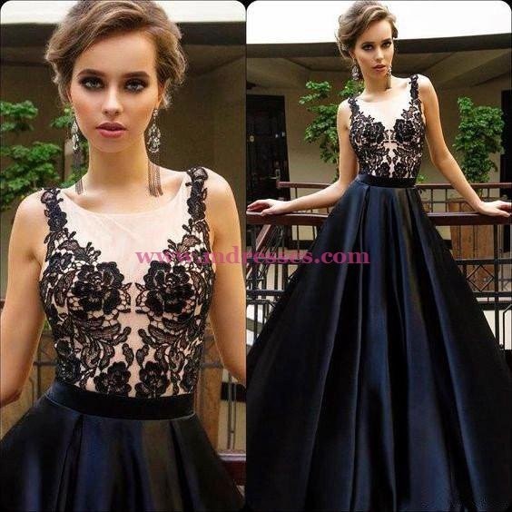 A-Line Long Black Lace Prom Dresses Party Evening Gowns 487