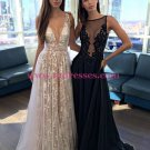 Sexy Low V-Neck Lace Tulle Long Prom Dresses Left Picture 493