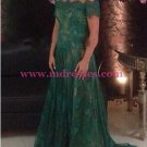 Long Green Lace Off-the-Shoulder Prom Dresses Party Evening Gowns 498