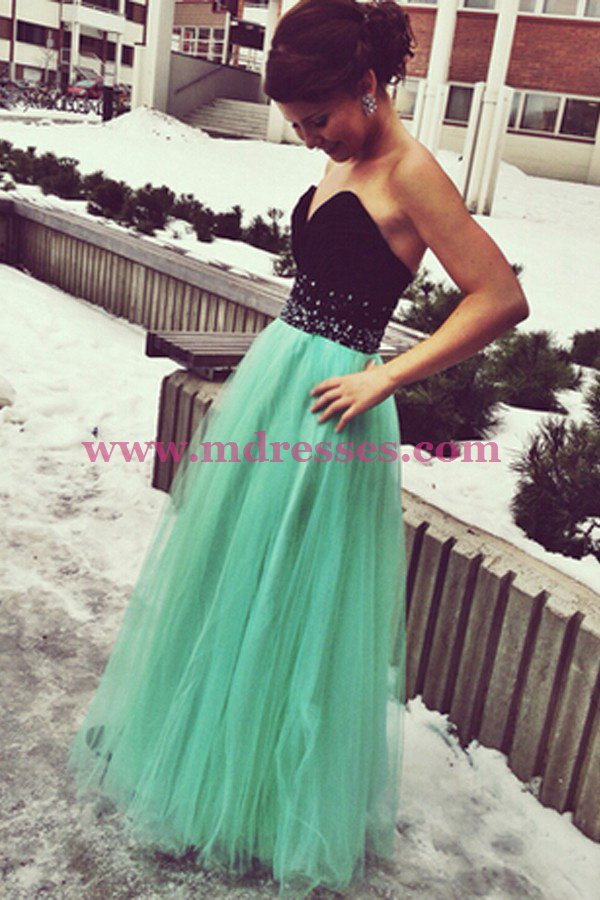 Long Black Mint Sweetheart Beaded Tulle Prom Dresses Party Evening Gowns 510