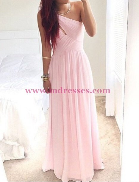 Long Pink One-Shoulder Chiffon Prom Dresses Party Evening Gowns 512