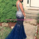 Mermaid Beaded Long Blue Prom Dresses Party Evening Gowns 513