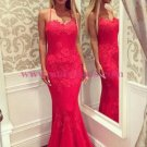 Mermaid Long Red Lace Prom Dresses Party Evening Gowns 515