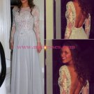 Long Sleeves Beaded Lace Backless Prom Dresses Party Evening Gowns 516