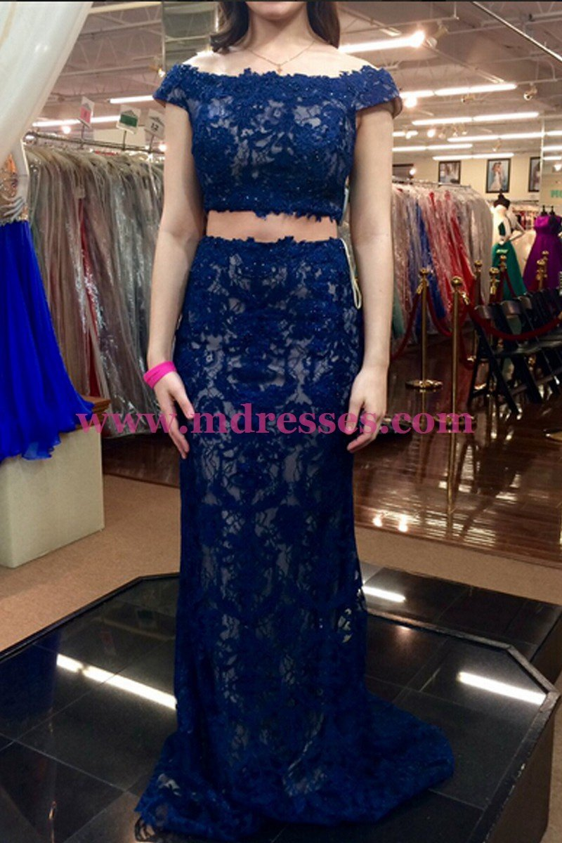 Two Pieces Off-the-Shoulder Lace Prom Dresses Party Evening Gowns 518