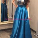 A-Line Jewel Neckline Lace Satin Long Prom Dresses Party Evening Gowns 520