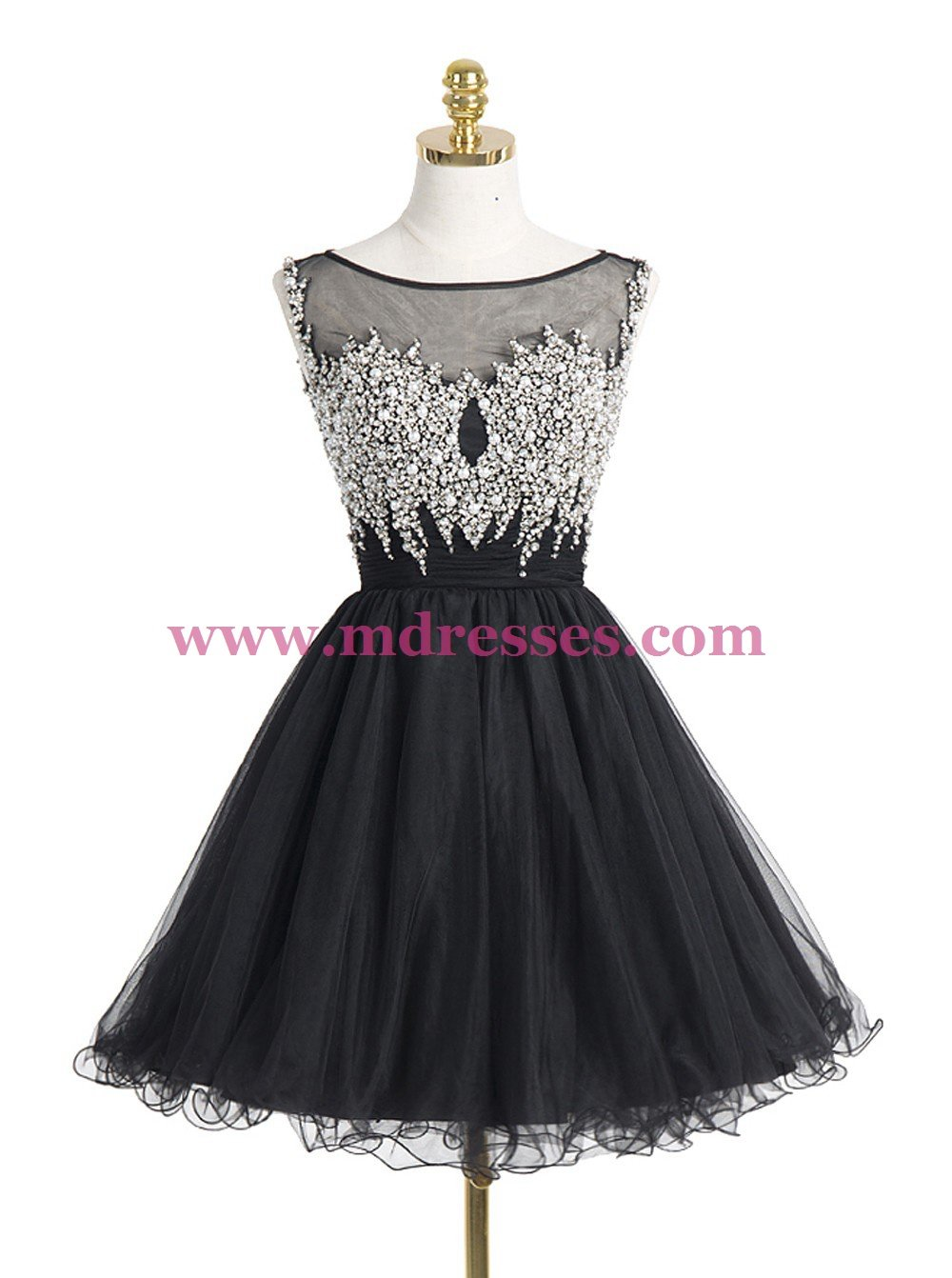 Short/Mini Illusion Neckline Beaded Black Homecoming Cocktail Prom Dresses 523