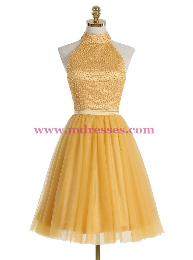 Short Yellow Homecoming Cocktail Prom Dresses 524