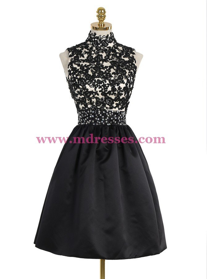 Short Black High Neck Lace Homecoming Cocktail Prom Dresses Party Evening Gowns 530