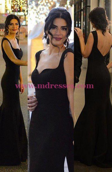 Long Black Mermaid Prom Dresses Party Evening Gowns 533