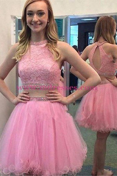 Short Pink Beaded Lace Homecoming Cocktail Prom Dresses 536