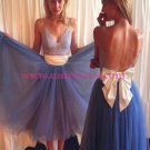 Lace and Tulle Spaghetti Straps Prom Dresses Party Evening Gowns 537