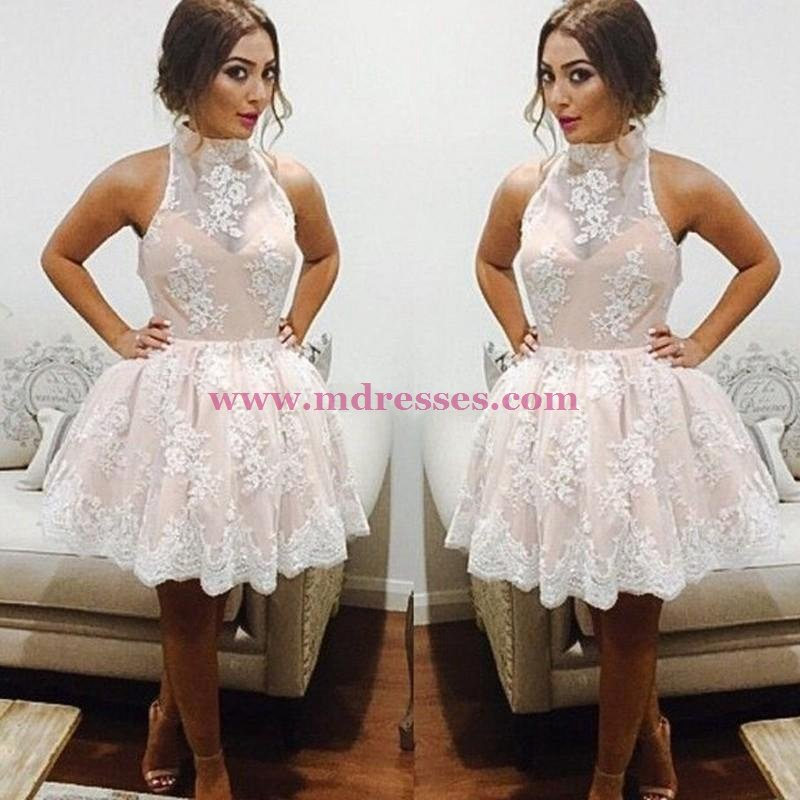 Short White Lace Homecoming Cocktail Prom Dresses Party Evening Gowns 539