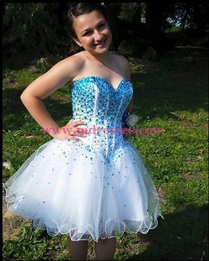 Short Blue Beaded Sweetheart Homecoming Cocktail Prom Dresses Party Evening Gowns 541