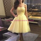 Short Yellow Lace Tulle Homecoming Cocktail Prom Dresses Party Evening Gowns 542