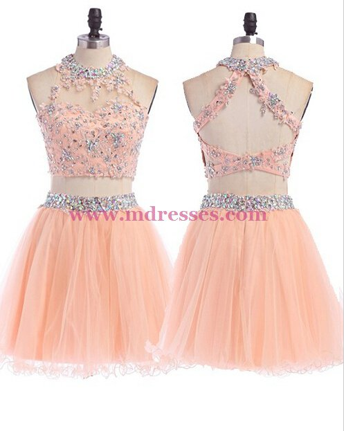 Beaded Lace Tulle Homecoming Cocktail Prom Dresses Party Evening Gowns 543