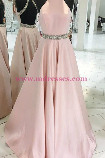 Long Pink Backless Beaded Halter Party Prom Evening Dresses 552