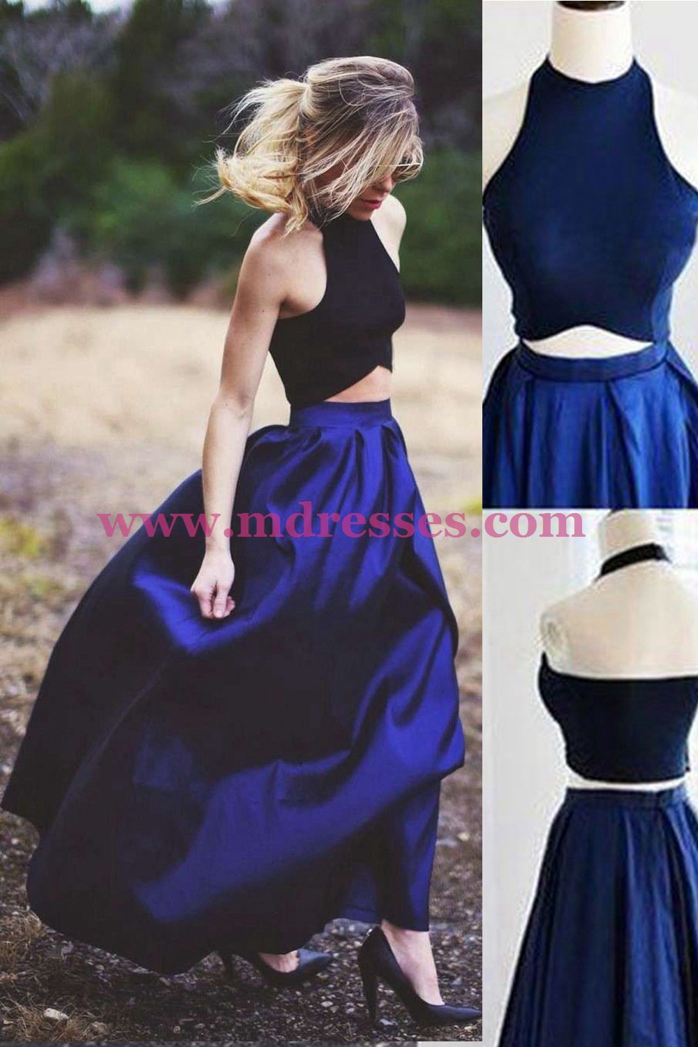 Chic Two Pieces Halter Sleeveless Royal Blue Floor-Length Prom Dresses 553