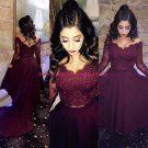 Assymetrical Two Pieces Lace Burgundy Long Evening Party Prom Dresses 556