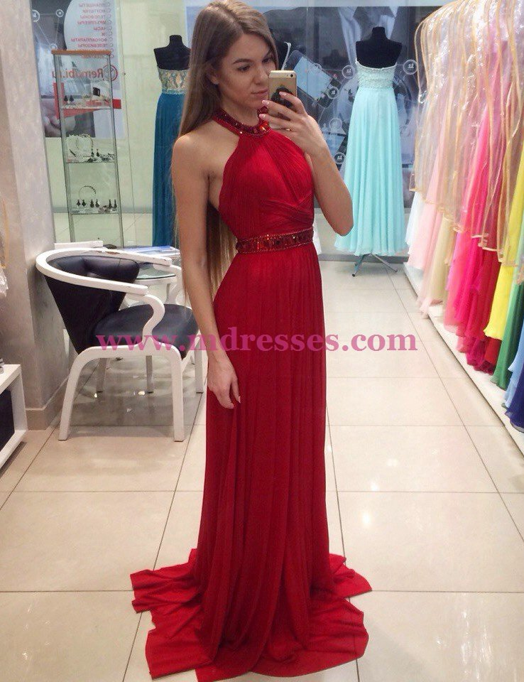 Long Red Halter Pleated Chiffon Prom Party Dresses 558