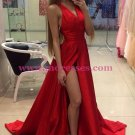 Sexy Long Red V-Neck High Slit Simple Prom Party Dresses 561