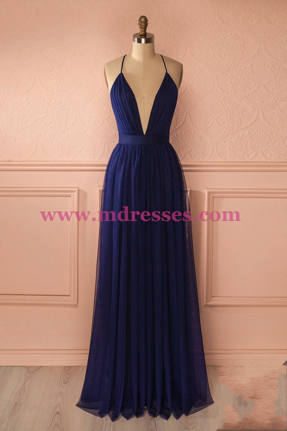 Sexy Long Blue Low V-Neck Simple Tulle Prom Party Dresses 562