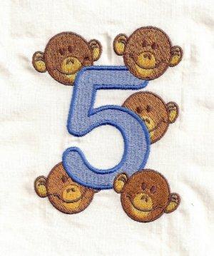 Five Little Monkeys Machine Embroidery Designs 4x4 Hoop