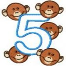 Five Little Monkeys Applique Embroidery Designs 5x7 Hoop